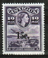Antigua Single 12 Cent Stamp From The 1965 Definitive Issue With 15 Cent Overprint. - Antigua & Barbuda (...-1981)