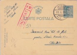 WW2 LETTER, CENSORED ALBA IULIA NR 15, KING MICHAEL PC STATIONERY, ENTIER POSTAL, 1942, ROMANIA - Cartas De La Segunda Guerra Mundial