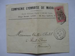 ENVELOPPE  EXPEDIEE DE MADAGASCAR  - CACHET DE BATEAU MARSEILLE A  LA REUNION   N°6     TTB - 1877-1920: Période Semi Moderne