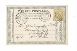 """CP Bureau à Bureau """"Cachet Gros Chiffres, 2502"""" Montpellier, Cérès 15 Cts, Cachet Bureau Ambulant Paris à Belfort, 1873 - 1849-1876: Période Classique"""