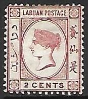 Labuan  1892   Sc#33   2c  Victoria   MH   2016 Scott Value $7.25 - North Borneo (...-1963)