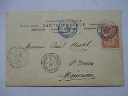 CACHET DE BATEAU MARSEILLE A LA REUNION  LU  N°3      A QUE MON COUTURIER  ....     TTB - Réunion (1852-1975)