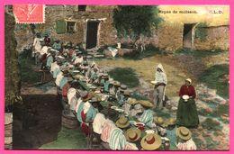 Cp Glacée - Intérieur De Ferme - Paysans - Repas De Moisson - Animée - Edit. E.L.D. - 1906 - Colorisée - Paysans
