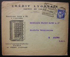 Calais 1937 Crédit Lyonnais Enveloppe Illustrée Coffre Fort Fichet + Daguin - Postmark Collection (Covers)