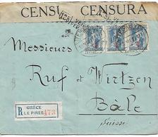 GREECE 1917 REGISTERED CENSORED COVER Sent To Bale COVER USED - Greece