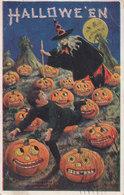 EMBOSSED HALLOWEEN POSTCARD 1908 WITCH PUMPKINS - Halloween