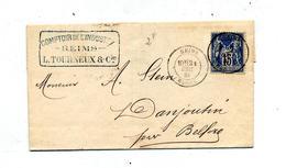 Lettre Cachet  Reims Sur Sage  + Belfort - 1877-1920: Semi Modern Period