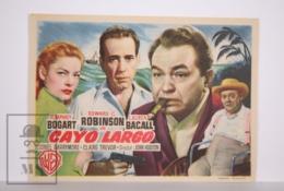 Original 1948 Key Largo Cinema / Movie Advt Leaflet - Humphrey Bogart, Edward G. Robinson & Lauren Bacall / John Huston - Publicidad