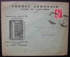 Saint Omer 1938 Crédit Lyonnais Enveloppe Illustrée Coffre Fort Fichet - Marcophilie (Lettres)