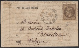"""Ballon Monté """"Le Tourville"""" Oblitéré 23/DEC./1870 Pour Bruxelles Belgique - 1863-1870 Napoléon III Lauré"""