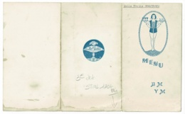 Menu Illustré 3 Feuillets, Dimensions 94 X 170 Mm - Noce D'Argent Berthaud-Vitteau - 21 Octobre 1945 - Menus
