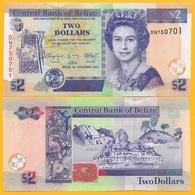 Belize 2 Dollars P-66e 2014 UNC Banknote - Belize