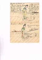 CHINE : Deux Cartes (entiers Postaux) En Couleurs De 1904. Voir Aussi Le Dos. Superbes Et Rares. - China