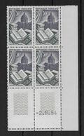 FRANCE - RELIURE 1954 - YVERT N° 971 En BLOC De 4 COIN DATE ** MNH  - COTE = 12 EUR. - 1950-1959