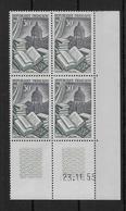 FRANCE - RELIURE 1955 - YVERT N° 971 En BLOC De 4 COIN DATE ** MNH  - COTE = 13 EUR. - Ecken (Datum)