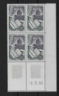 FRANCE - RELIURE 1956 - YVERT N° 971 En BLOC De 4 COIN DATE ** MNH  - COTE = 15.5 EUR. - 1950-1959