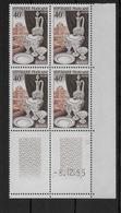 FRANCE - PORCELAINE 1955 - YVERT N° 972 En BLOC De 4 COIN DATE ** MNH  - COTE = 35 EUR. - Dated Corners