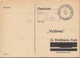 FrzZone  Gebühr Bezahlt.....Rpf., Barfrankatur MiNr. B 14b, Neuravensburg 9.MAI 1947 - Zona Francese