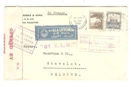 PR6554/ Palestine Air Mail Cover By K.L.M.Tel Aviv 22/1/1940 Censored Insufficiently Prepaid To Stavelot Belgium - Palestine