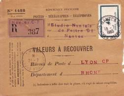 40 Fr Cours D' Instruction Obl NANTES COURS PRATIQUES 1955 Sur Devant De Valeurs à Recouvrer - Marcophilie (Lettres)