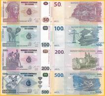 D.R. Congo Set 50 100 200 500 Francs P-96 - 99 2013 UNC Banknote - Congo