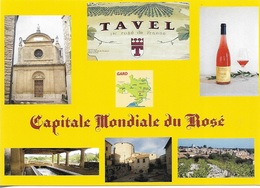 30 - Tavel - Capitale Mondiale Du Rosé - 6 Vues + Carte Géographique Du Gard - Cpm - Vierge - - Other Municipalities