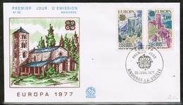 CEPT 1977 AD FR MI 282-83 ANDORRA FRANCE FDC - Europa-CEPT