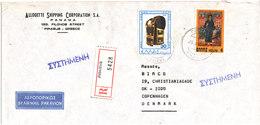 Greece Registered Air Mail Cover Sent To Denmark Piraieus 26-11-1980 - Greece