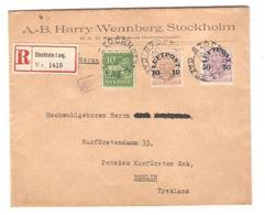 PR6556/ Sweden Registered Cover Stocklholm 1921 To Berlin Germany Wax Seal Tricolor Stamp - Suède