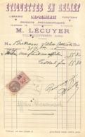 FACTURE 1936 ETIQUETTES EN RELIEF IMPRIMERIE A VILLERS COTTERETS - 1900 – 1949