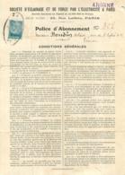 POLICE D'ABONNEMENT 1923 SOCIETE D'ECLAIRAGE ET DE FORCE PAR L'ELECTRICITE A PARIS - 1900 – 1949