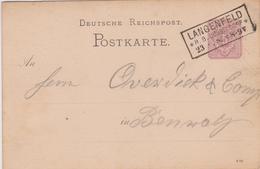 Dt. Reich Postkarte / Kastenstempel LANGENFELD / Dusseldorf 1888 - Germany