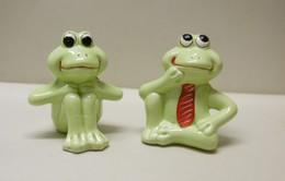 2 GRENOUILLES En Cravate En Plâtre - Bibelot Animaux Grenouille (lot 1) - Tiere