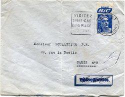 """FRANCE LETTRE AFFRANCHIE AVEC LE N°886 PUBLICITE """"POINTE BIC"""" DEPART ST-CAST 24-6-1953 COTES-DU-NORD POUR PARIS......... - Pubblicitari"""