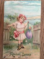 CPA, Joyeuses Pâques, Fröhliche Ostern, Petite Fille Présentant Un Oeuf Fleuri, Champêtre, écrite En 1909, Suisse,timbre - Easter