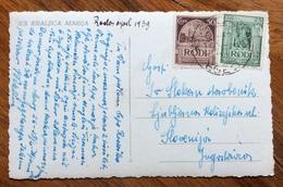 ISOLE ITALIANE DELL'EGEO  RODI EGEO 14/4/1939 25+50 C. SU CARTOLINA PER LA JUGOSLAVIA - Egeo