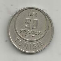 Monnaie , TUNISIE ,  50 FRANCS ,  1950 , 2 Scans - Tunisie