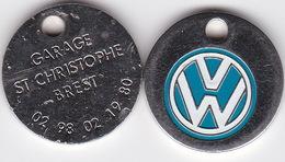Publicité Jetons De Caddies Volkswagen Garage St Christophe Brest - Trolley Token/Shopping Trolley Chip