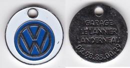 Publicité Jetons De Caddies Volkswagen Garage Le Lannier Landerneau - Jetons De Caddies