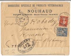 Lettre Nexon 1916  Destination Romont + Censure N° 412 - Guerre De 1914-18