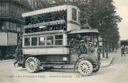 75  PARIS 18e AR LES TRANSPORTS A PARIS AUTOBUS A IMPERIALE - Arrondissement: 18