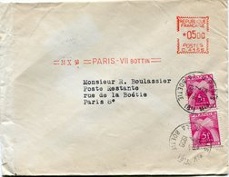 FRANCE LETTRE DEPART =31 X 58= PARIS BOTTIN= TAXEE A L'ARRIVEE EN POSTE RESTANTE PARIS 7 II 1958 R. LA BOETIE - Marcophilie (Lettres)