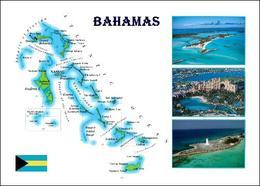 Bahamas Country Map New Postcard Landkarte AK - Bahamas