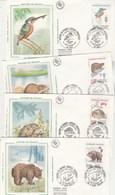 France Lot 4 Enveloppes  FDC Sur Soie 1991 Yvert  Série 2721 à 2724 Nature Animaux Tortue Ours Castor Martin Pêcheur - FDC