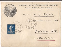 Lettre Paris 1913 ( Institut De Paléontologie Humaine ) Fondation Albert 1er Prince De Monaco Destination Wien Autriche - Storia Postale