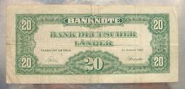 20 Mark Banque D'Allemagne 22 Août 1949  Nombreuses Pliures Sinon état Moyen. - [ 6] 1949-1990 : GDR - German Dem. Rep.