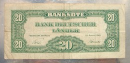 20 Mark Banque D'Allemagne 22 Août 1949  Nombreuses Pliures Sinon état Moyen. - [ 6] 1949-1990 : RDA - Rep. Dem. Tedesca