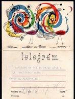 POLAND 1963 TELEGRAM SPECIAL OCCASION STYLISED PEACOCKS BIRDS USED TÉLÉGRAMME TELEGRAMM TELEGRAMA TELEGRAMMA - Paons