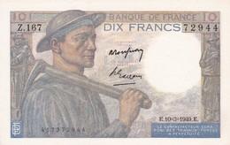 BILLET  10 FRANCS MINEUR Du 10-3-1949 * Z167 72944 * 1 épinglage (C) - 10 F 1941-1949 ''Mineur''