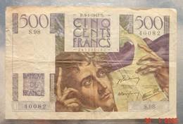 Billet 500 Francs Banque De France - 09/01/1947- Multiples Pliures Pas De Déchirures état Moyen. - 1871-1952 Gedurende De XXste In Omloop